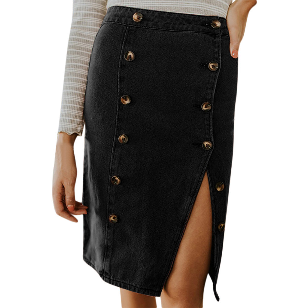 Summer Skirts jupe femme Women Fashion Elastic Button Denim Open Casual Boot Cut Skirt faldas mujer moda 2020 #N05