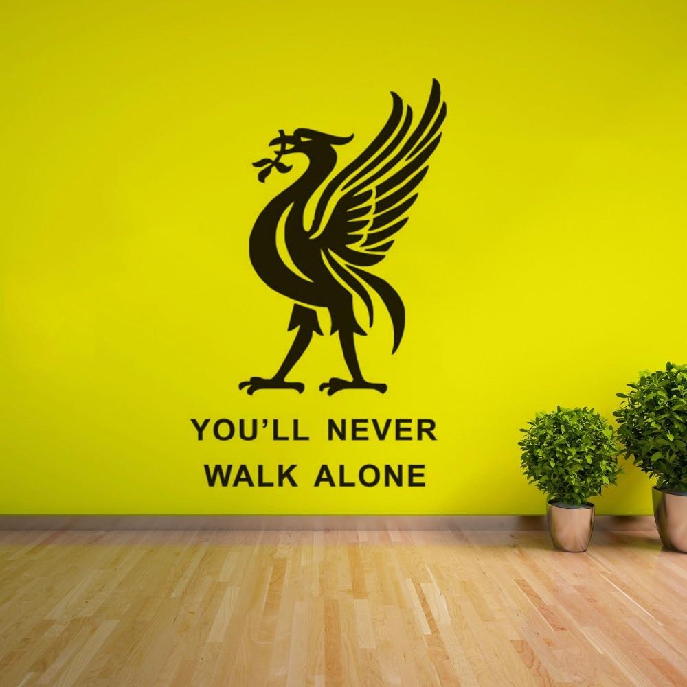 Liverpool Football Club Muursticker Je zult Nooit Alleen Lopen Inspiratie Quote Muur Poster Voetballer Wall Decals Gift AZ290