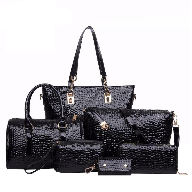 ФОТО Brands High Quality Crocodile Pattern PU Leather Women Tote+Shoulder/Messenger+Clutch Composite Bags 6 Pieces Sets Bolsos Mujer