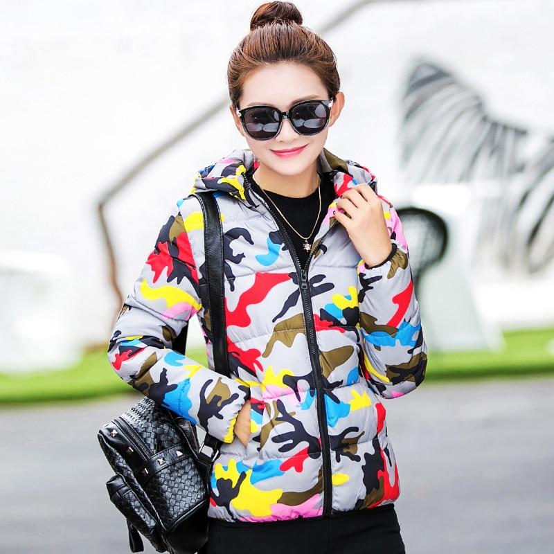 ICENY 2016 Yeni Kış Kapüşonlu Ceket Aşağı 90% Pamuk Temel palto Kamuflaj Aşağı Ceket Kadın Ince Sıcak Ceket Artı Boyutu L-3XL