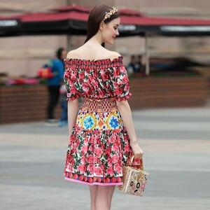 Image 2 - Короткое модельное платье высокого качества, 2020 летние новые женские модные вечерние богемные пляжные Сексуальные винтажные элегантные платья с принтом
