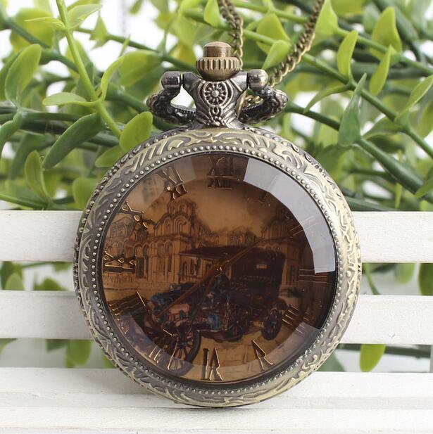 Vintage Bronze Antiques Dark Brown Glass Roman Numerals Flip Clock Pocket Watches Gift POK872