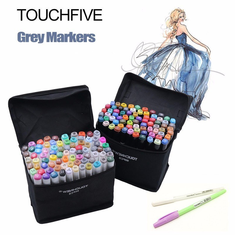 TOUCHNEW 30/40/60/80 Colors Artist Dual Headed Marker Set Animation Manga Design School Drawing Sketch Marker Pen Art Supplies touchnew markery 40 60 80 colors artist dual headed marker set manga design school drawing sketch markers pen art supplies hot