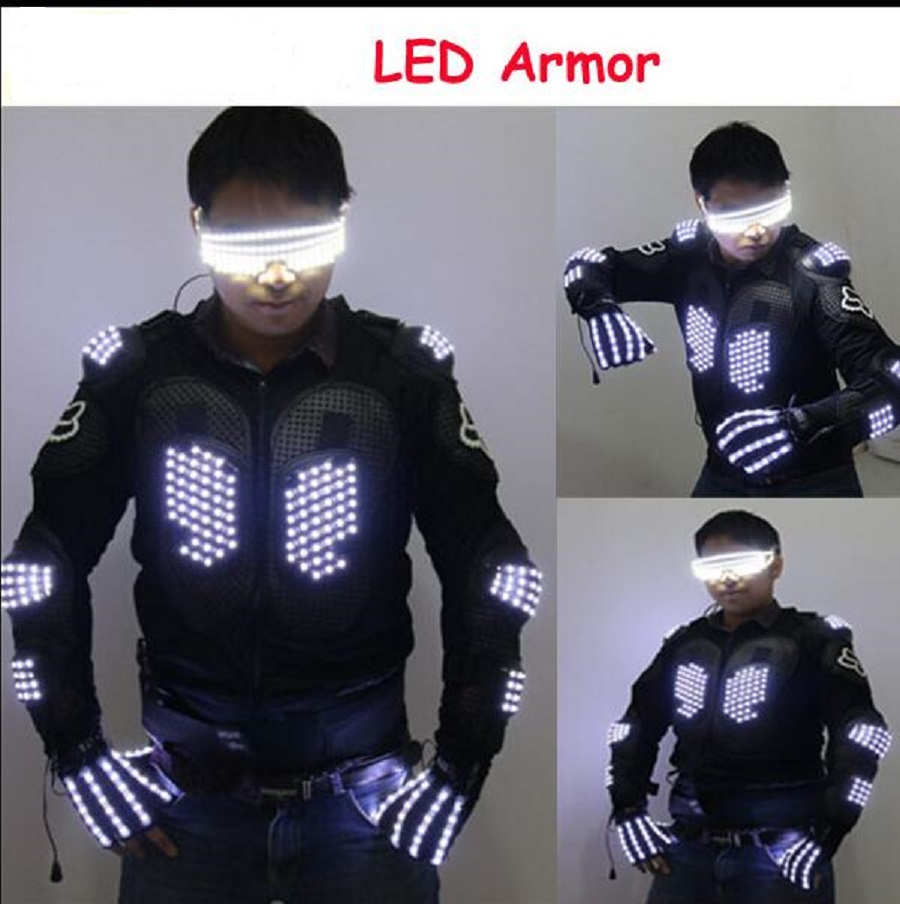 New Arrival Fashion Ds Costume Men Light Up Jackets Glove Glasses Led Outfit Clothes Suit