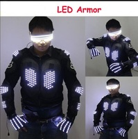 New 2017 Men Light Up Jackets Glove Glasses Fashion Ds Costume Led Outfit Clothes Led Suit