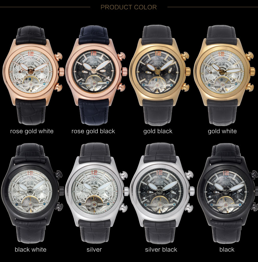 Forsining Convex Glass Stylish Tourbillion 3D Genuine Leather Strap Mens Watches Top Automatic Watch Clock (4)