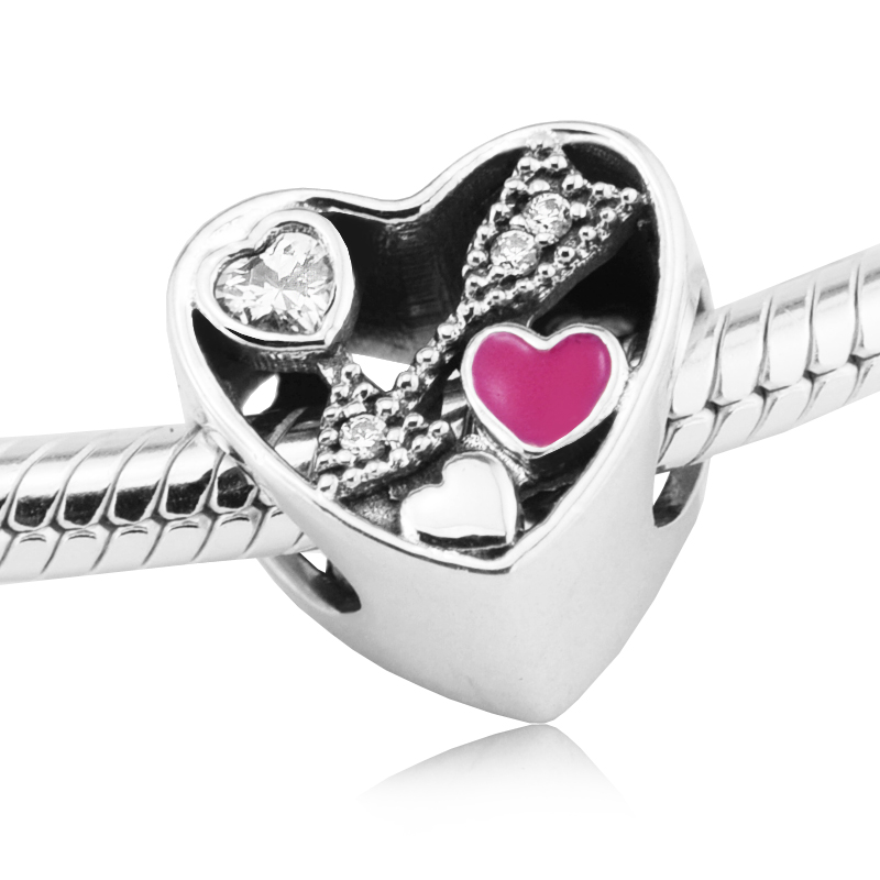 Fits For Pandora Bracelets Struck by Love Charms with Cerise Enamel 100% Sterling Silver ...
