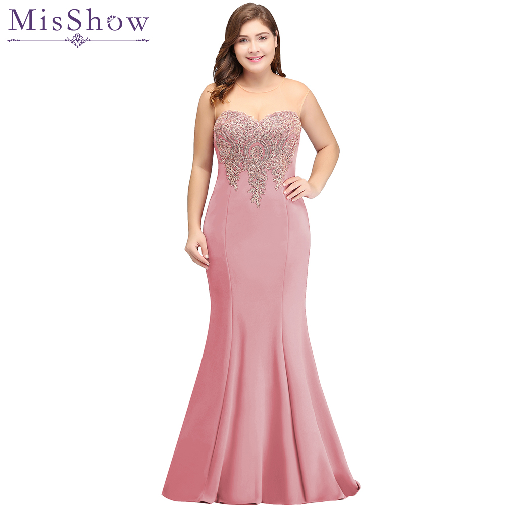 2019 Dusty Pink Long Mermaid   Evening     Dress   Plus Size Gold Appliques Bodice Women Party Formal Gown Illusion Back   Evening     Dresses