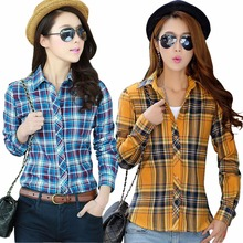 Hot Spring Autumn Women Plaid Blouses Shirts Long-sleeve Shirt High Street Casual OL Top PLus Size Blusas  J2351