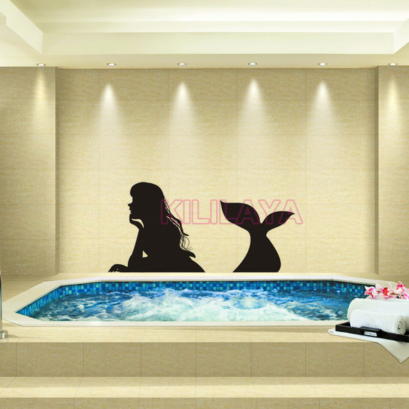Sticker Mermaid Vinyl Wall Stickers for Bathroom Shower Room Wall ...