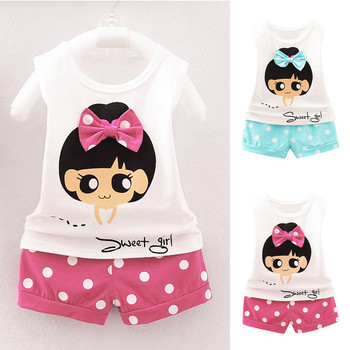 Boys Tops girls clothes Baby Sleeveless Outfits Striped Cotton Girls clothing set T-Shirt opa de nina image
