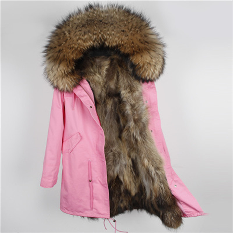 2017 Long Real Fur Coat Female Warm Fur Coat Jackets Natural Raccoon Fur Collar with Real Raccoon Fur Lined Parkas Women Winter 2017 winter new clothes to overcome the coat of women in the long reed rabbit hair fur fur coat fox raccoon fur collar