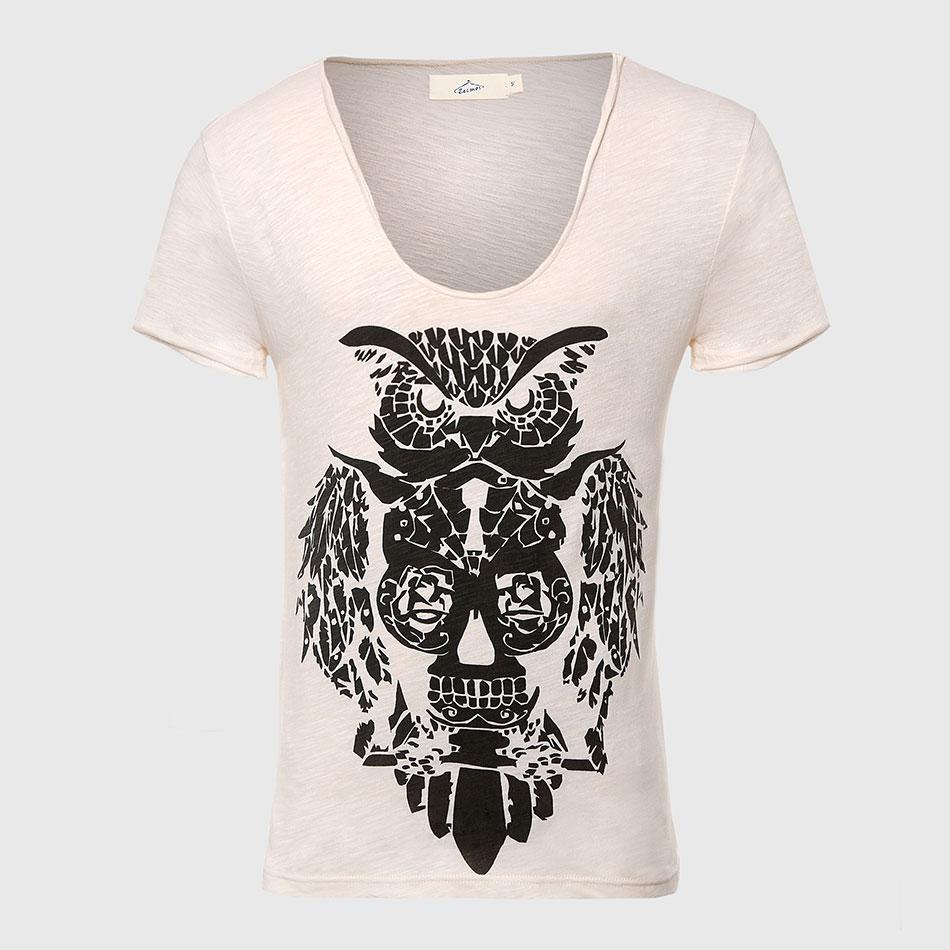 Zecmos Swag Owl T-Shirt 남자 럭셔리 코튼 T 셔츠 V 넥 T 셔츠 남성용 동물 프린트 탑 티셔츠 반팔