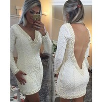 Cecelle 2019 Ivory Sexy Short Lace Homecoming Dresses Long Sleeves Deep V Neck Open Back Pearls Fitted Prom Cocktail Dresses New