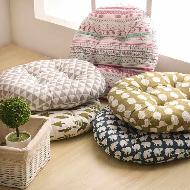 ラウンド形状 2 サイズのシートクッションシルク綿コア綿ポリエステル畳クッション枕家の装飾車のソフトソファクッション