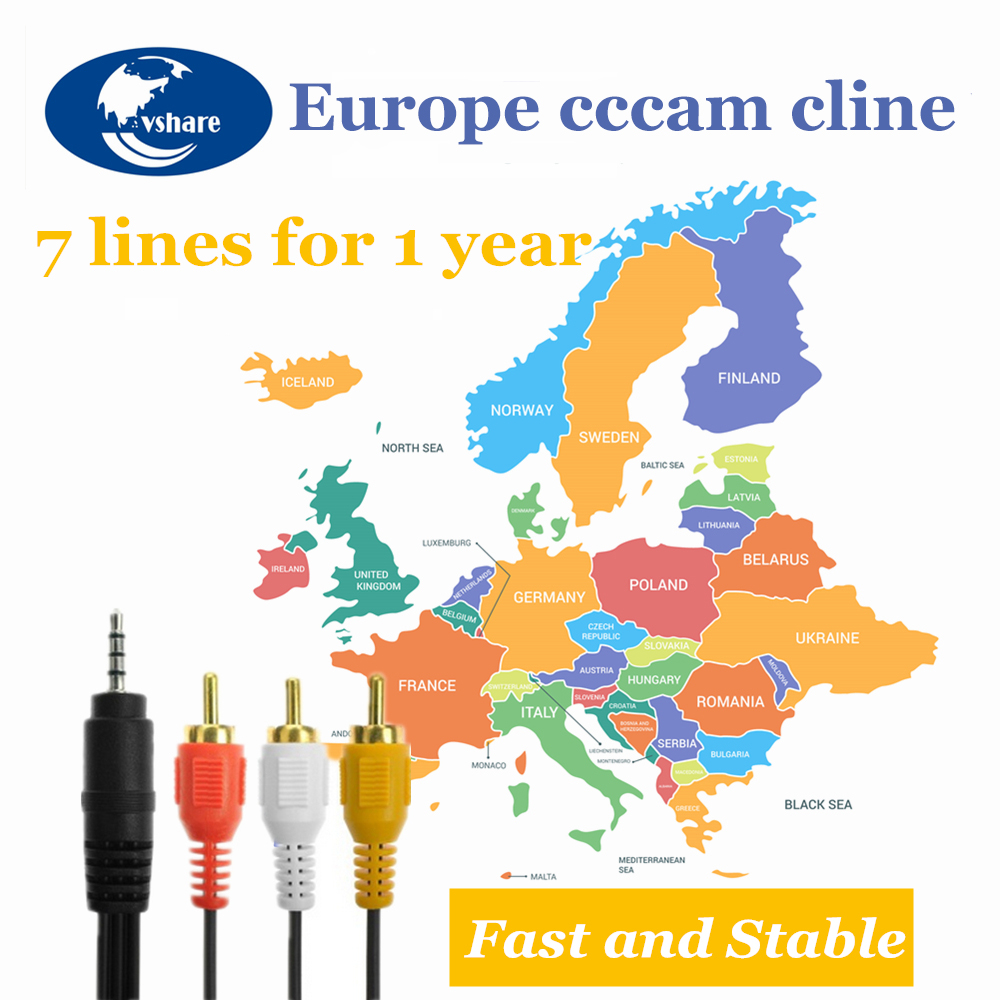 1 Year Europe Cccam Cline For Spain Sweden Germany Poland Portugal Lines IKS Receptor Share Server HD DVB-S2 C-line Via USB Wifi