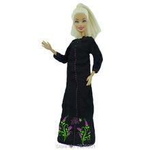 """El yapımı uzun kollu elbise Müslüman Ulusal Kostüm Siyah Renk Dollhouse Aksesuarları Giysileri Barbie FR Kurhn Bebek 11.5 """"12"""""""