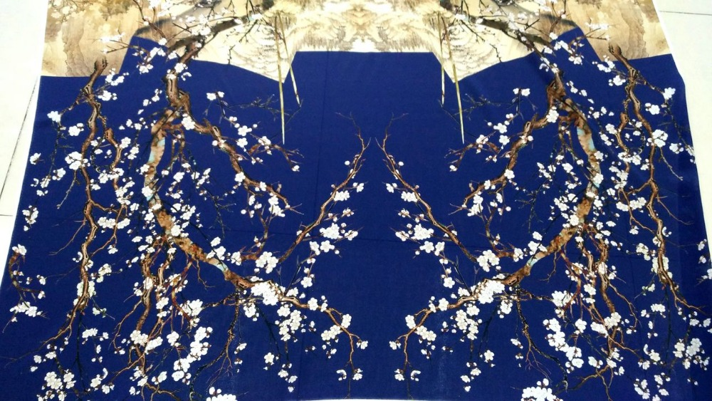 High quality 100% silk blue Plum flowers prints silk satin fabric for dress shirt cloth scarf Crepe silk fabric