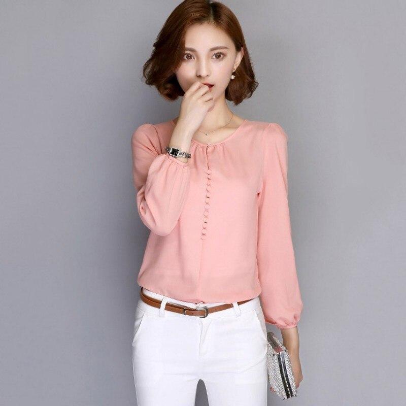 Spring Autumn Women Korean Casual Loose   Blouses   Long Sleeve Chiffon   Blouse     Shirt   Elegant Ladies Tops White Pink