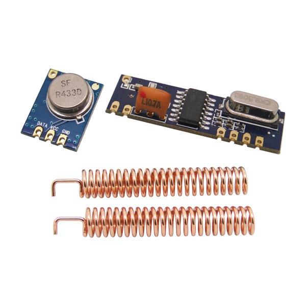 2 bộ/lô 433 MHz 100 mét Module Không Dây kit (transmitter STX882 + ASK nhận SRX882) + 4 pcs đồng ăng ten mùa xuân