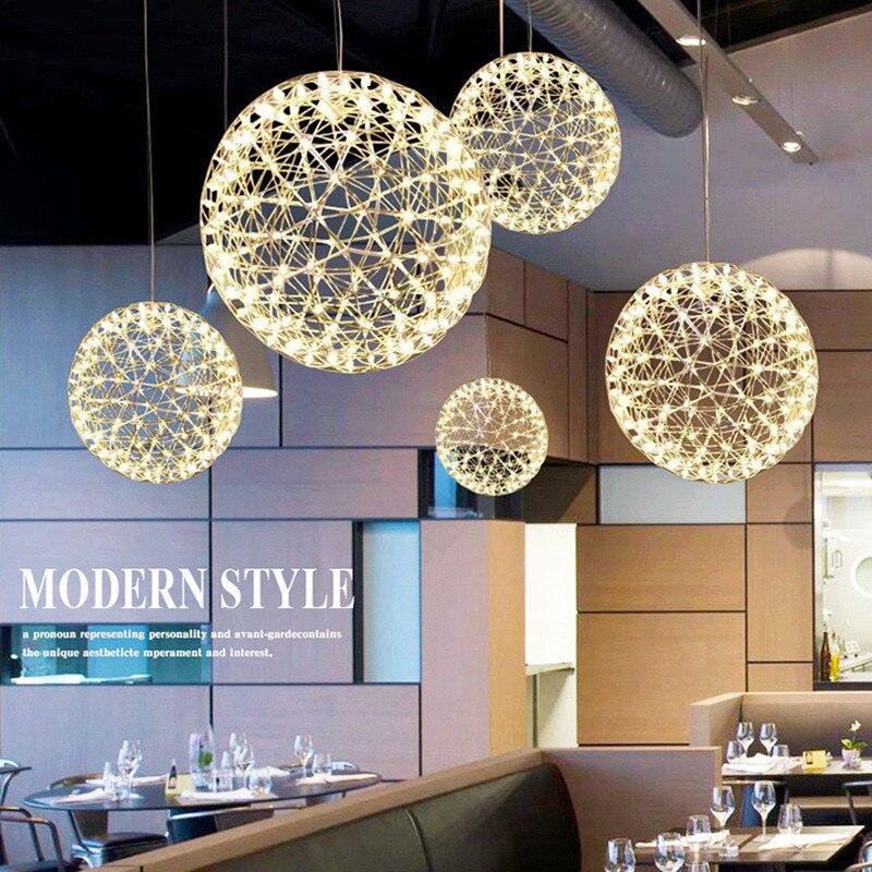 Modern Brief Loft Spark Ball LED Pendant Light Fixture Firework Ball Stainless Steel Pendant Lamps For Restaurant Home Deco