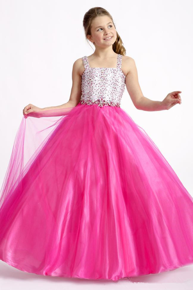 Hot Pink Girls Pageant wedding Party Beach Dresses spaghetti Strap ...
