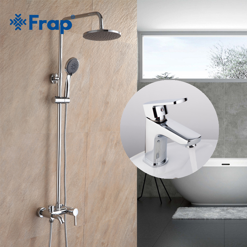 Frap High Quality Bathroom Combination Brass Basin Faucet and Bathroom Faucet Shower Cold and Hot Mixer Taps Chrome F2416 F1064