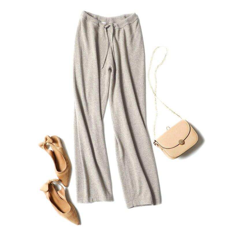 100% кашемир женские вязаные Новые Модные свободные штаны Пояса Высокая талия H прямые брюки абрикос 4 сплошной цвет ЕС/M L