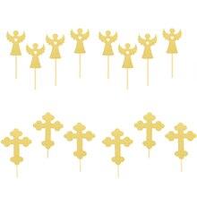 24 pçs cruz e anjo em forma de bolo topper bolo de papel picaretas cupcake toppers decorações topper decoração do chuveiro do bebê fontes de festa