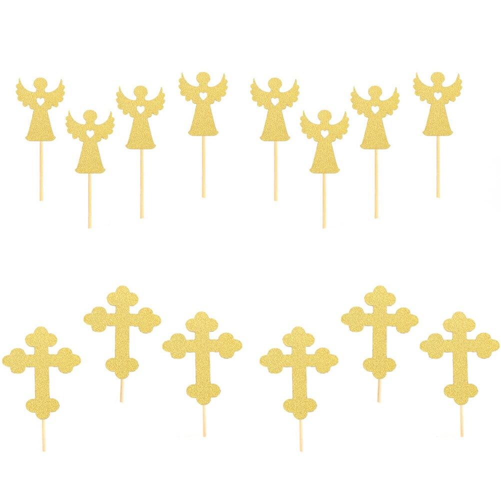 24 шт., крестообразные торты в форме ангела, бумажные пики для тортов, украшения для кексов, верхние украшения для детского душа, вечерние при...