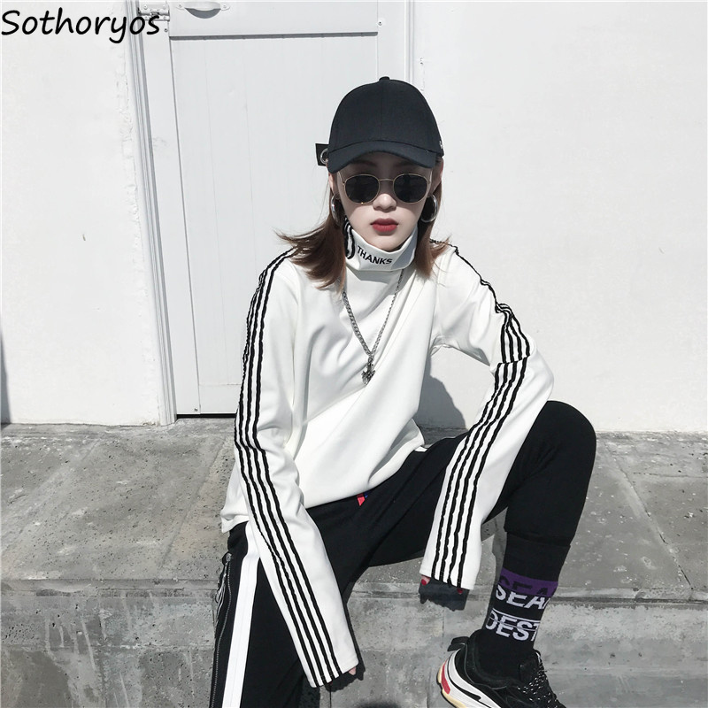 T-shirts Women Long Sleeve Turtleneck Striped Letter Embroidery Harajuku Womens Loose T-shirt Trendy Chic Korean Style All-match 1