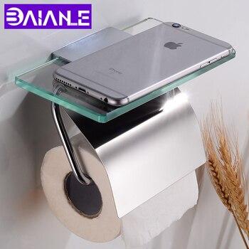Suporte de papel higiênico com prateleira de vidro bronze à prova dwaterproof água banheiro rolo suporte de papel decorativo suporte de toalha de papel fixado na parede
