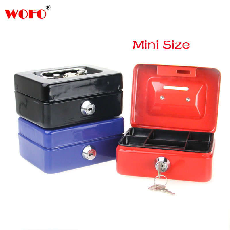 WOFO Mini Petty Cash Money Box Stainless Steel Security Lock Lockable Metal Safe Small Fit for House Decoration 4.9*3.7*2.2 inch
