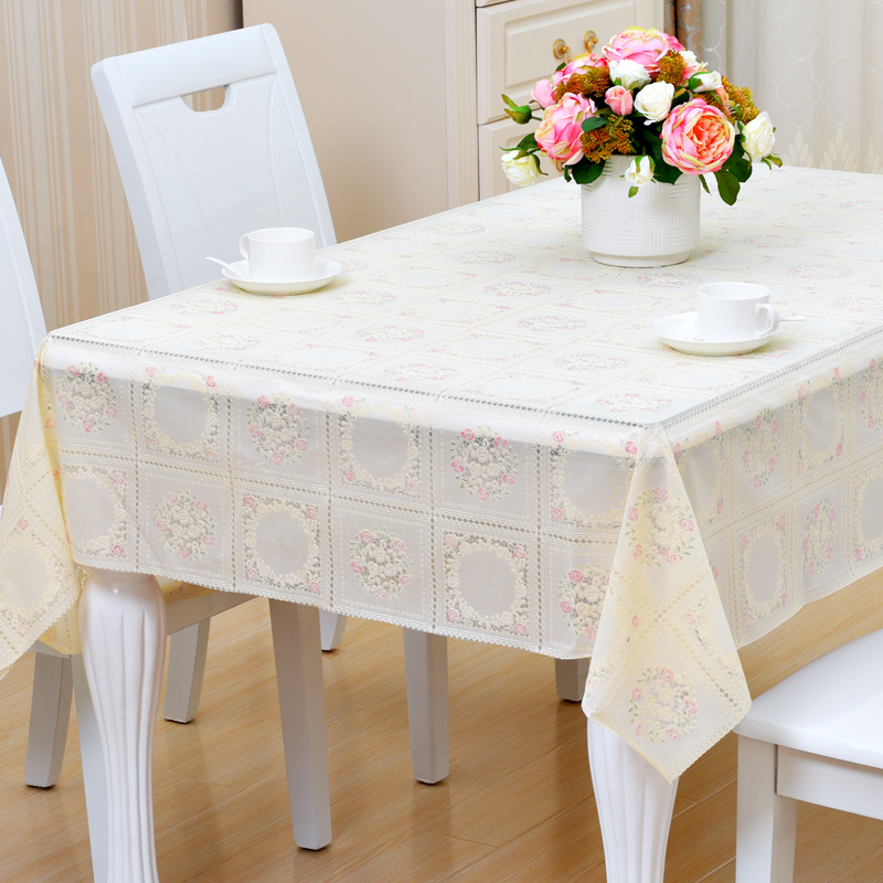 137*180CM PVC Tablecloth Waterproof Rectangle Plastic Lace Small Europe  Rural Style Waterproof Oilproof Tablecloth