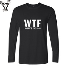 BTS WTF T-shirt Men Cotton With A Long Sleeve WHRER'S THE FOOD Funny Shirt Men Luxury Brand Black Casual Mens Funny T Shirts 4XL