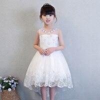 2018 White Flower Girl Dress Trails Lovely Princess Dress Sleeveless Summer Ball Gown Short Front Long Back Communion Gown E241