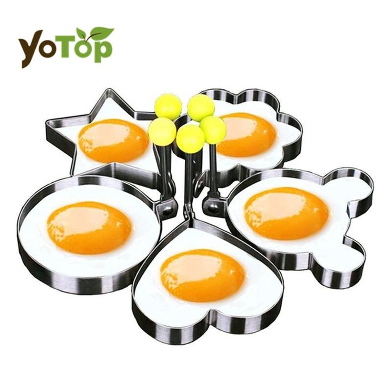 YOTOP 5ks / sada Nerezová ocel Roztomilá tvarovaná smažená vejce Forma Palačinky Prsteny Forma Kuchyňské nářadí srdce, hvězda, květiny, kulaté, mickey