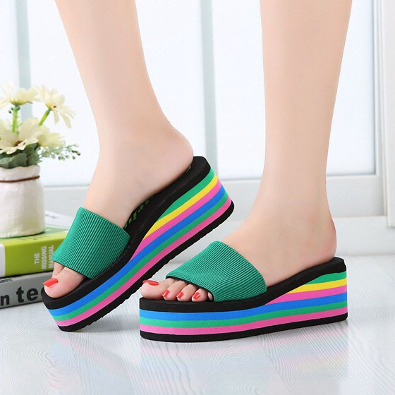 2d56d8a92 Mules Shoes Women Platform Sandals Summer Wedges Rainbow Shoes Ladies Beach  Slippers Flip Flops Casual Slides Zapatos Mujer