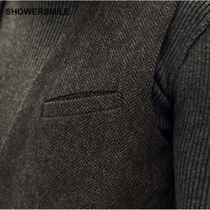Image 2 - Showersmile ヘリンボーンストライプグレーのスーツのベストシングルブレストヴィンテージチョッキ男性イングランドスタイル秋プラスサイズジレオム