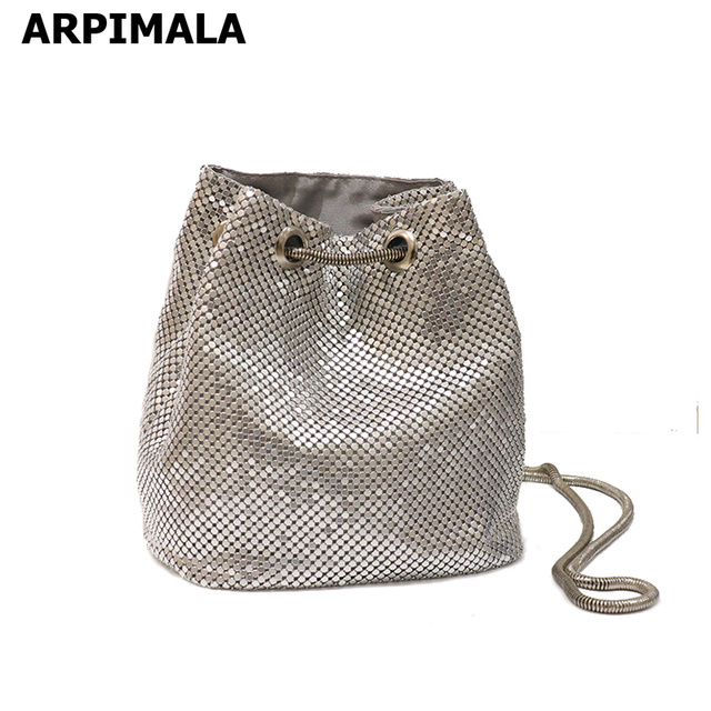 Arpimala Chainmail Bucket Bag Small Silver Women Messenger Bags Mini Chain Handbags S Cute Cross