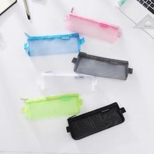 Mesh Pencil Case Candy Color Transparent Pen Bag Stationery Storage School Supplies Joy Corner