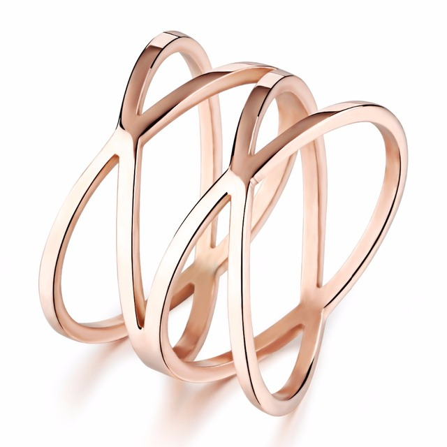 Rose gold Color Designer Women Rings Stainless Steel Jewelry Hot