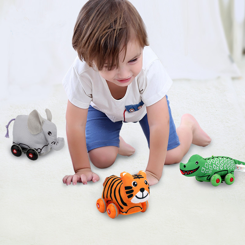cartoon Animal pull back car Models Toys for children development Mini Sliding pull back Car fun popular toy
