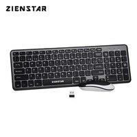 Zienstar Spanisch Brief 2 4G Wireless Tastatur Maus Combo mit USB Empfänger für Desktop  Computer PC  laptop und Smart TV