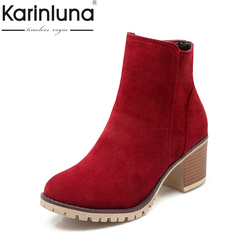 KARINLUNA new arivals zip up large size 34-43 chelsea boots women shoes fashion square heels ankle boots woman shoes morazora fashion punk shoes woman tassel flock zipper thin heels shoes ankle boots for women large size boots 34 43