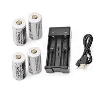 4 шт 3,7 v 2200 мА/ч, CR123A литий-ионная аккумуляторная батарея+ 1 шт. USB Зарядное устройство 16340 18650 18500 14500 CR123A Батарея Зарядное устройство