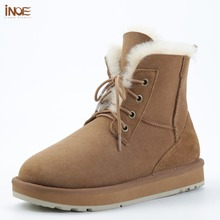 INOE Fashion Sheepskin Suede Leather Wool Fur Lined Women Casual Short Ankle Winter Boots for Ladies Lace Up Snow Boots Shoes