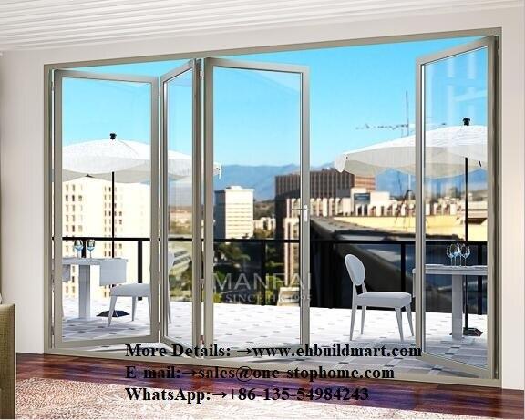 Porte se pliante en Aluminium imperméable de rupture thermique d'isolation thermique, Double porte se pliante en Aluminium en verre pour l'entrée