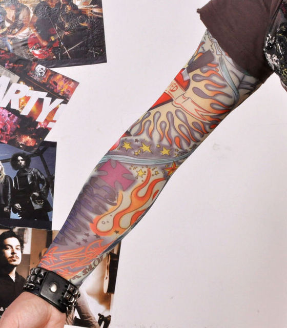 5796b1ba0eed8 Oldschool tattoo sleeve tatoo punk pin up big flower new mixed 100%Nylon  elastic Fake temporary designs body Arm stockings tatoo