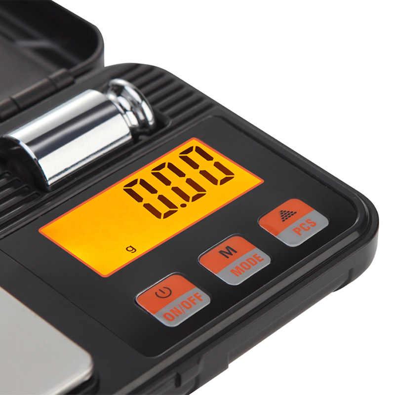 200g 0.01g موازين رقمية صغيرة الدقة للذهب والفضة والمجوهرات التوازن الوزن مع الأوزان 50g وملاقط